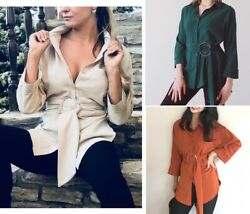 Women Long Blouses Casual Buttons Ladies Elegant Lace Up Fitted Waist Retro Tops $26.31