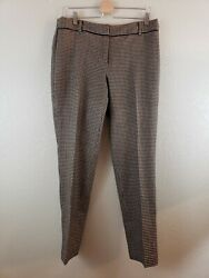 EUC TALBOTS Signature camel Tan Black Houndstooth Stretch Wool Blend Pants10