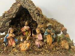 Vintage Christmas Nativity Primitive LIFELIKE wooden MANGER handmade in ITALY