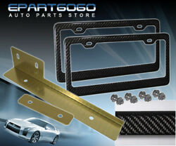 Gold Jdm Bumper Relocate Adapter Bracket + Carbon Fiber Cf License Plate Frame