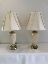 Pair Stiffel Brass And Lenox Porcelain Lamps With Silk Shades $550.00