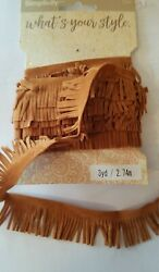 1#x27; Chestnut Faux Suede Leather Fabric Fringe simplicity 9 yards $12.34