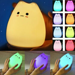 Silicone Cat LED Touch Sensor Night Light Cute Children Bedroom Lamp 7 Colors $9.57
