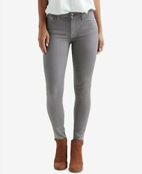 $99 Lucky Brand Mid-Rise Ava Coated Skinny Jeans Silver Gray Metallic Sparkle 26