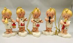 Lot of 5 Sevi Italy Painted Wooden Angel Band Christmas Ornaments