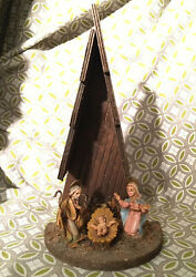 "Mint Vintage Fontanini Italy 8.75"" Wooden A-Frame Nativity Christmas Set"