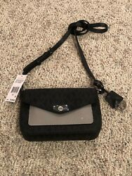 New Michael Kors Greenwich Color Pocket Small Flap Crossbody - Black Pearl Grey