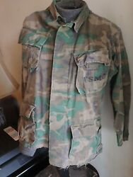 Vtg Vietnam War USMC Poplin Slant Pocket Jungle Jacket  Combat Camo Small