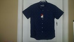 Izod Advantage Poplin Mens Casual Shirts 2XL Blue with sailboat Stretch New