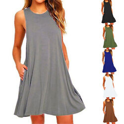 Women Summer Sleeveless Solid Beach Casual Cocktail Sundress Tank Top Midi Dress $6.53