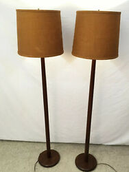 PAIR  vtg mid century TEAK FLOOR LAMPS Danish Modern pole burlap shade lighting