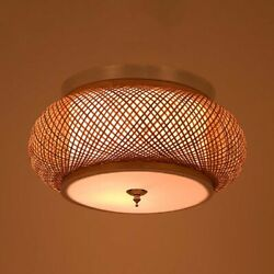 Farmhouse Country Style Oval Flush Mount Light Rattan Ceiling Pendant Room Lamp $69.99