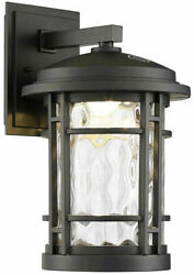Altair 9quot; Led Outdoor Wall Lantern AL2167 Burnished Bronze Clear Hammered Glass $74.99