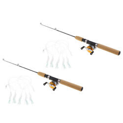 2pcs Micro Telescopic Ice Fishing Rod with Baitcasting Reels Travel Rod 55cm $20.09