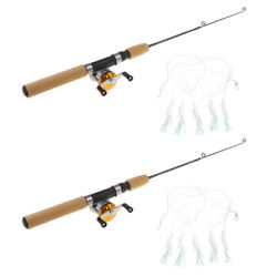 2pcs Micro Telescopic Ice Fishing Rod with Baitcasting Reel Travel Rods 65cm $20.18
