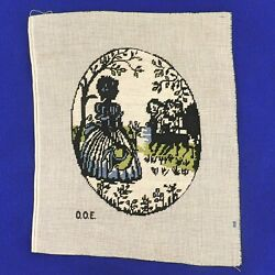 Vintage Needlepoint Petit Point Silhouette Panel Wall Hanging Lady w Deer $19.50