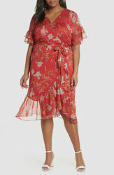 $350 Vince Camuto Women#x27;s Red Floral Tiered Sheer V Neck Cocktail Dress Size 14W $49.37