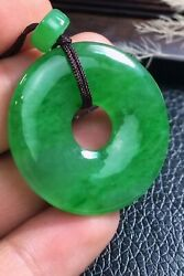 100% Natural Grade A Icy Sun Green Jade Jadeite Pendant Carved Donught F0426