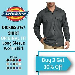 DICKIES 574 Men#x27;s Long Sleeve Work Shirt Button Front Active Formal Work Uniform $22.95