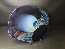 RARE HENRY SUMMA DRAGON SIGNED 15 12 x 13 ART GLASS SCULPTURAL PLATTER  $325.00