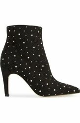 Leith Macee Pointy Toe Bootie 8m Black Nordstrom BP Faux Suede with Stones New $33.49