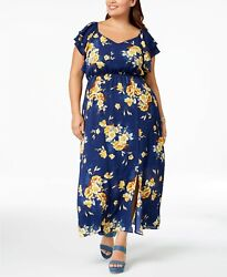 Monteau Trendy Plus Size Floral Print Maxi Dress MSRP $59 Size 1X # 4NB 584 NEW $10.79