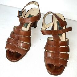 Vintage Cole Haan Brown Leather Womens Heel Sandals Size 6.5 Strappy Made Italy $26.99