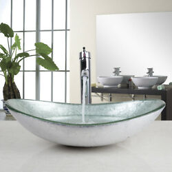 US Silver Tempered Glass Bathroom Vessel Sink Bowl WChrome Mixer Tap $99.00