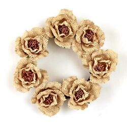 New Rustic Country Cottage Shabby Chic CREAM BURLAP ROSE CANDLE RING Wreath 4quot; $8.95