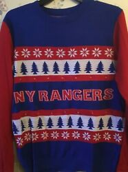 NEW YORK RANGERS HOCKEY MENS SWEATER SIZE L LARGE LIGHTS UP CHRISTMAS NHL UGLY