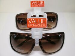 2 pr Womens Target Brown Amber Geometric Design Large Plastic Sunglasses Lot #33 $9.87