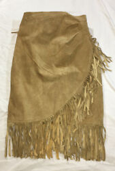 Desperado Leather Fringe Pocahontas Cowgirl Wrap Skirt Vintage Hippie $24.30