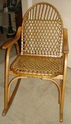 Vermont Tubbs Snowshoe Mid Century Rocking Chair Rawhide Caning EUC pickup $785.00
