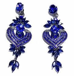 Rhinestone Chandelier Clip On Earrings Blue 4.1 in $36.99