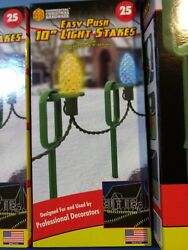 25 count Easy Push 10quot; Heavy Duty Light Stakes Commercial Christmas Hardware