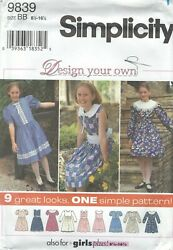Simplicity 9839 Girls#x27; Plus Dresses 8 1 2 to 16 1 2 Sewing Pattern $6.99