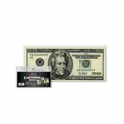 100 US Currency Paper Money Bill Protector Sleeves for Regular Bills BCW $5.99
