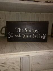 funny bathroom sign rustic home decor hand made farmhouse primitive humor $12.99