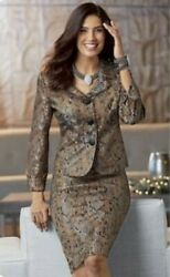 Monroe amp; Main Lace Embroidered Brown Black Silver Malani Skirt Suit 18W 22W 24W $35.99