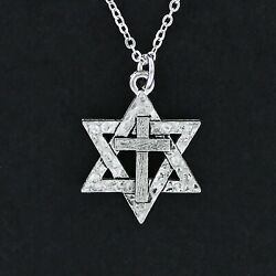 Star of David with Cross Necklace Pewter Charm Messianic Jewish Christ NEW $14.00
