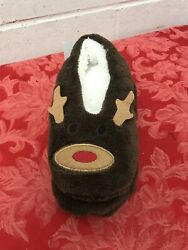 Cute Home Slippers Reindeer Warm Winter Kids Lined Indoor House Shoes NWT $3.99