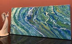 Green Glory Modern Art Original Abstract Acrylic Pour Painting On Canvas $75.00