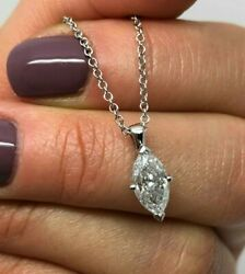 CERTIFICATED 18CT WHITE GOLD 1.09CT MARQUISE DIAMOND PENDANT GB0465