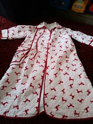 Guv vintage quilted red Paris Chic poodle girls 6 6x robe vtg retro sweet dog $17.48