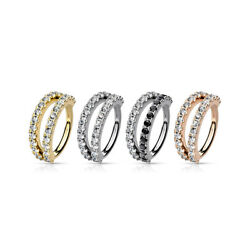 Double Lined Micro CZ Hoop Nose Ear Lip Cartilage Helix Daith Rook Tragus Rings $6.75