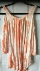 T Party Women#x27;s Boho Knit Trimming Tie Dye Cold Shoulder Summer Top Sizes S amp; M $22.99