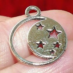 4x Moon and Star Charms for Bracelet Pendant for Necklace Silver Tone 2 Sided $3.79