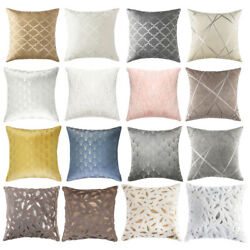 Throw Pillow Covers Geometric Jacquard Chenille Faux Fur Sofa Couch Cushion Case $7.99