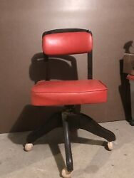 Antique Office Sewing Chair Red Vinyl $49.00