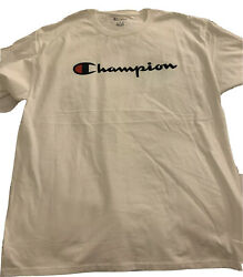 Champion Sportswear Mens White Graphic Crewneck T Shirt Size L $17.99